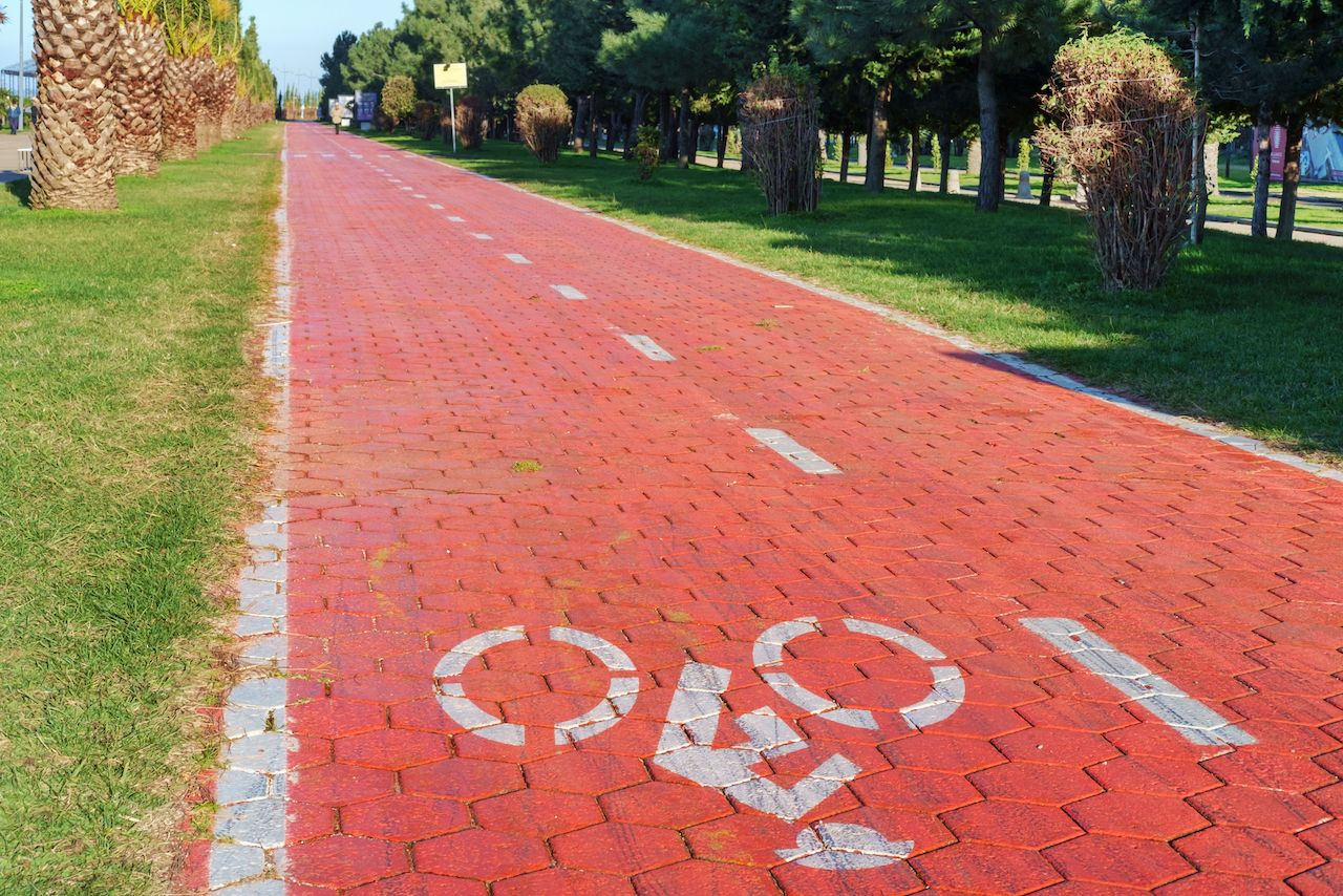 Bike lane with road symbols