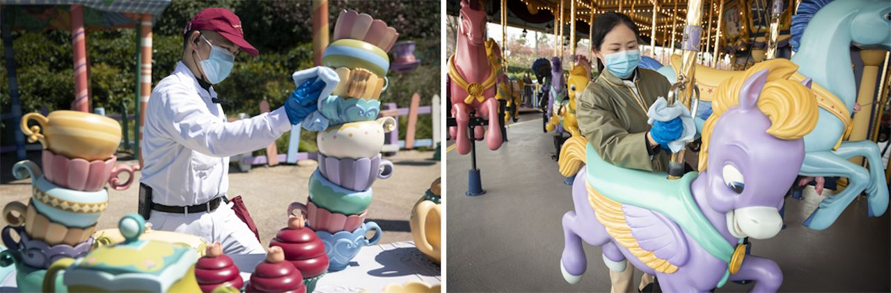 Disneyland Shanghai reopening cleaning