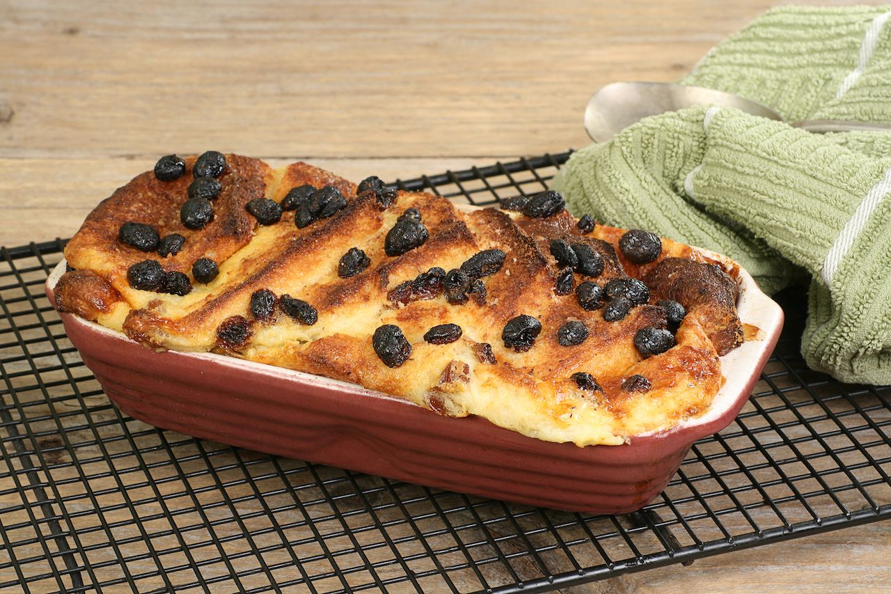Home baked bread and butter pudding