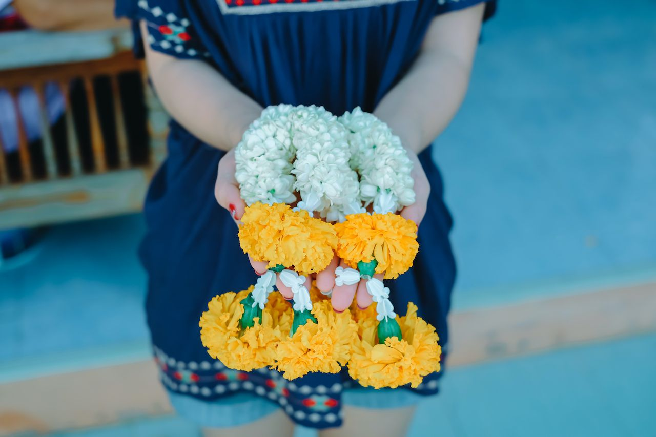 Jasmine garlands for mother, Mother's Day symbol of Thailand