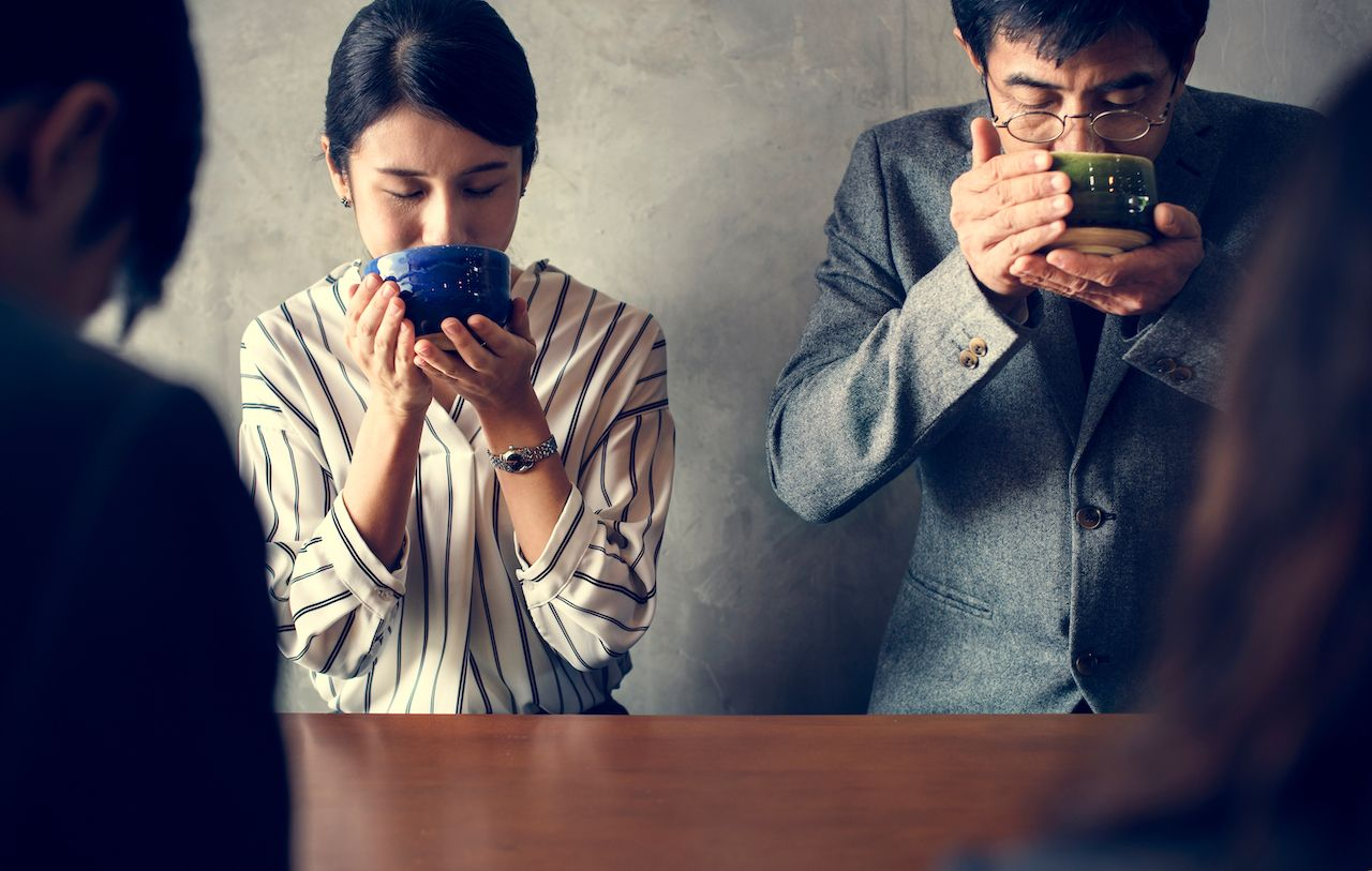 People drinking tea