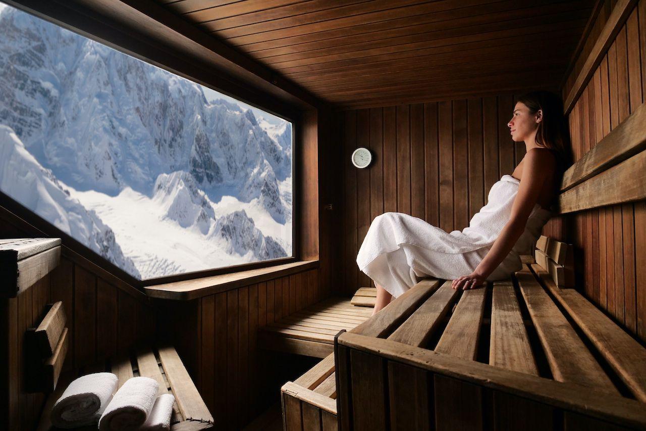 Person in a sauna