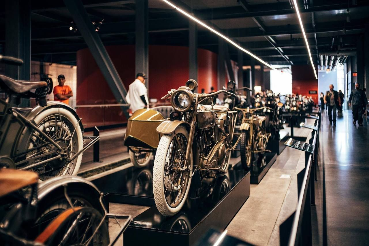 A motorcycle in the Harley-Davidson Museum