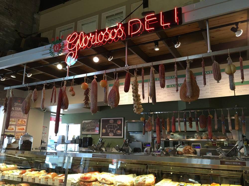 Hanging meats at Milwaukee's Glorioso's Italian Market