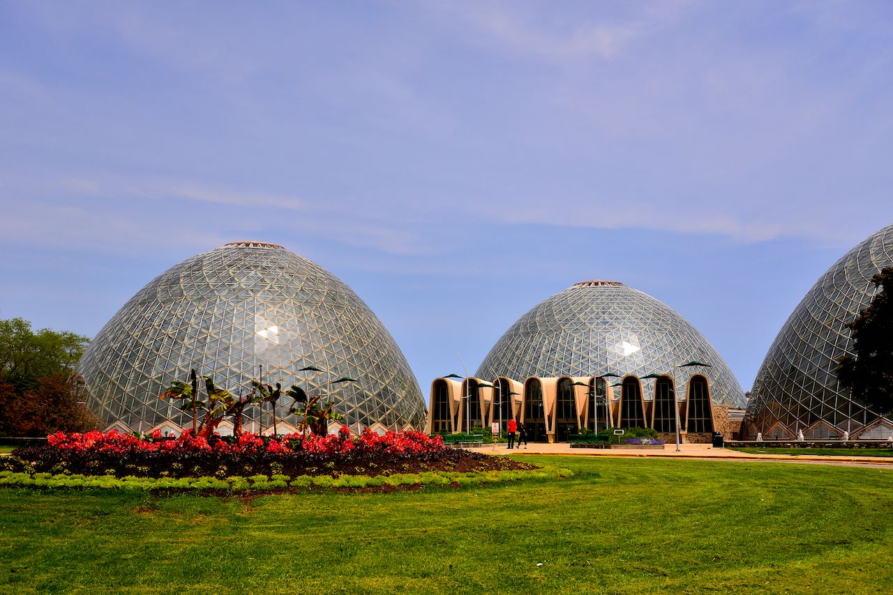 The Mitchell Park Domes with freshly planted vegetation in the roundabout