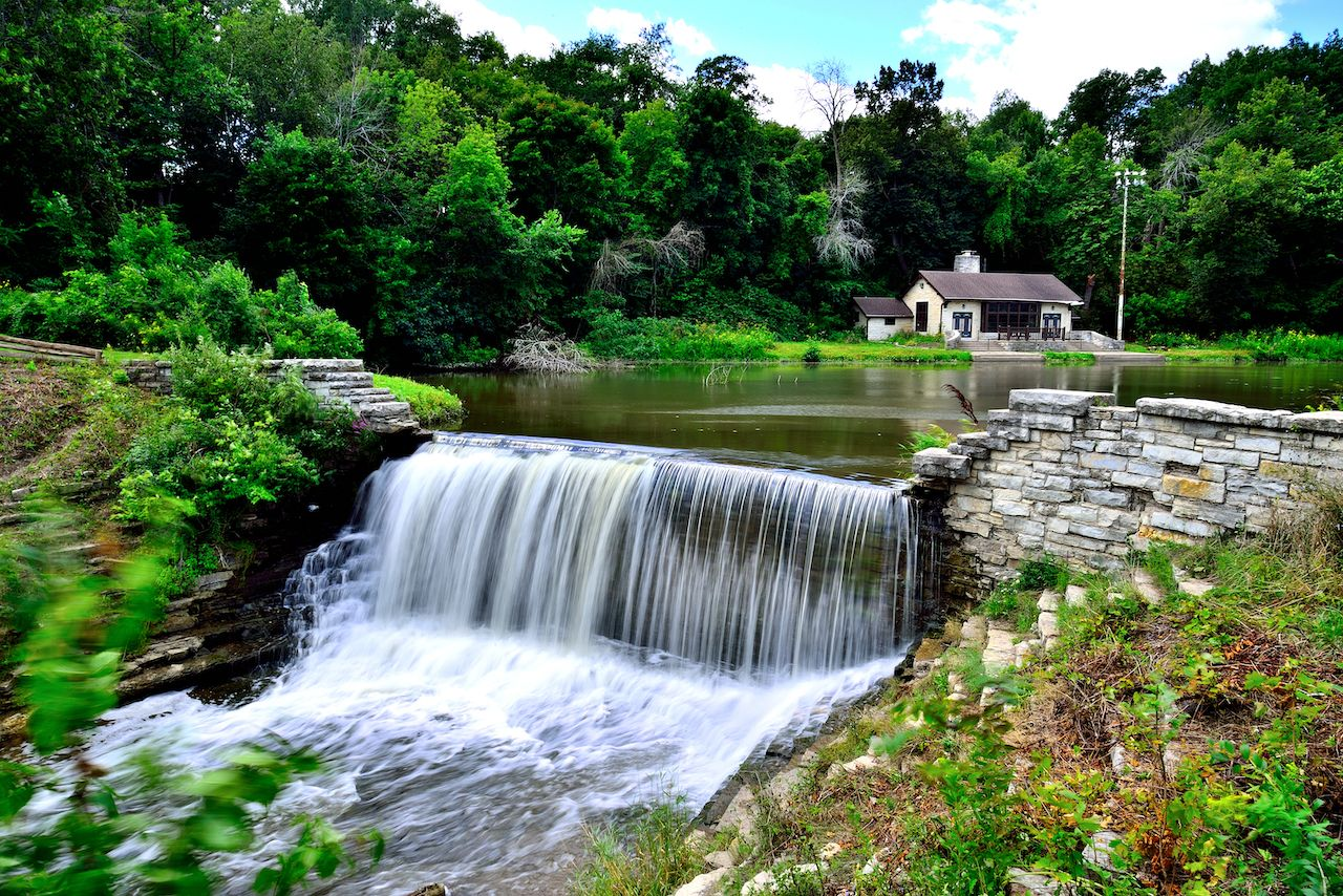 The dam at Oak Creek Pond