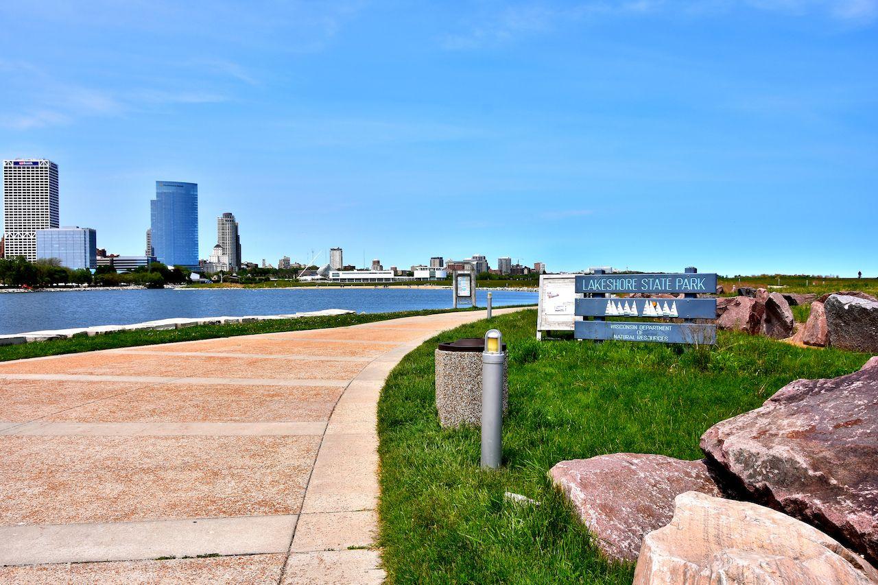 Lakeshore Park along the shore of Lake Michigan