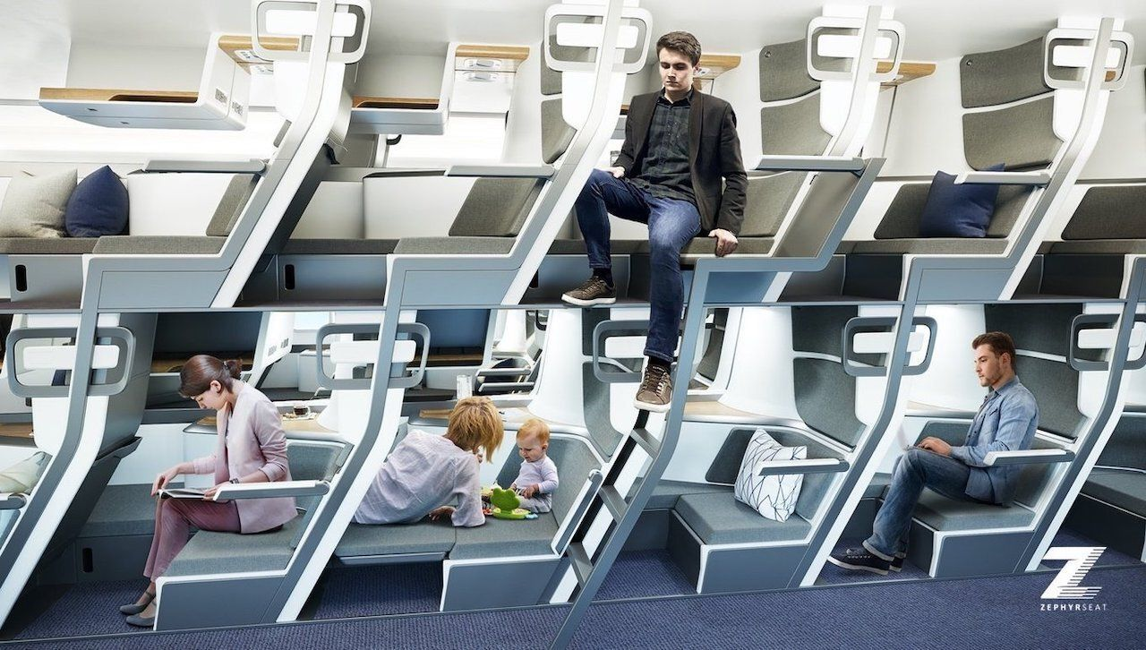 Double-decker plane seat design
