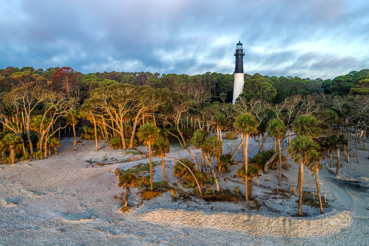 Aerial View of Hunting Island Lighthouse at Hunting Island State Park in Beaufort, South Carolina