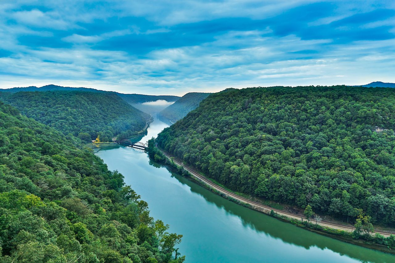 West Virginia's New River Gorge as viewed from the Hawks Nest overlook near the town of Anstead.