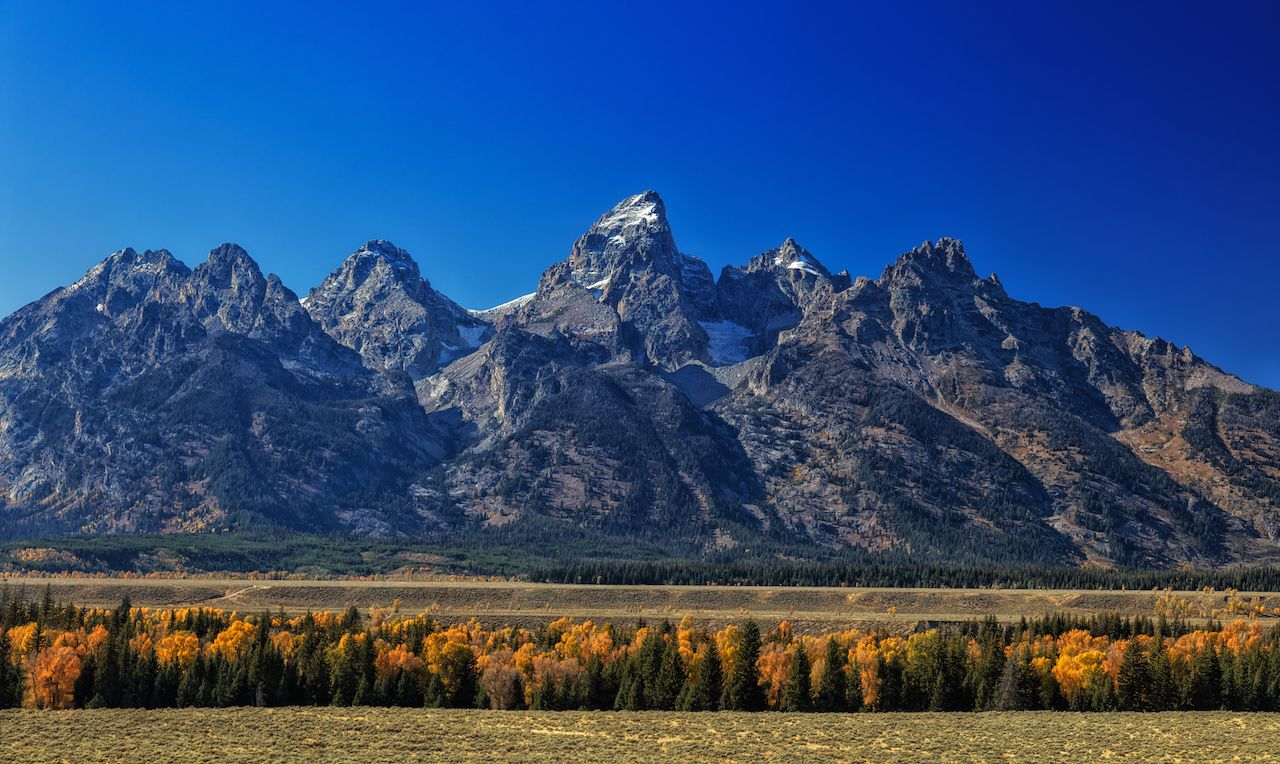 View of the Tetons in the autumn in Wyoming