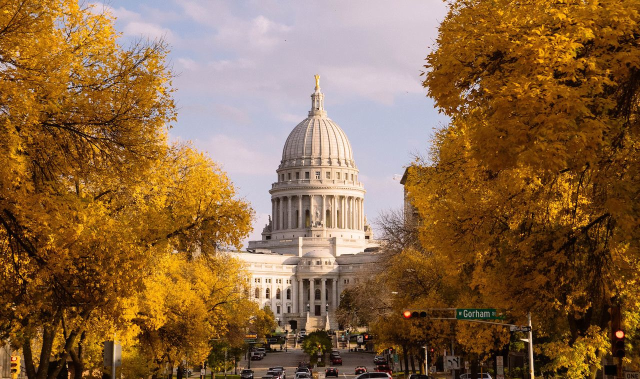 The Wisconsin State Capitol in autumn