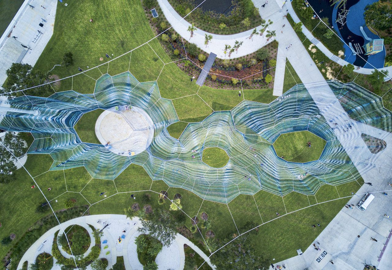 Bending Arc woven sculpture in Florida from above