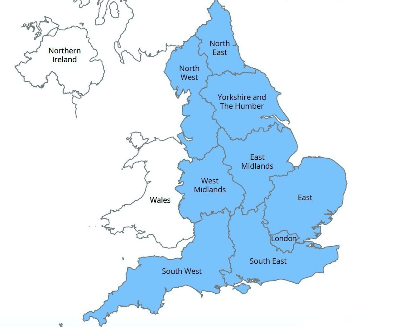 Map of regions of Britain