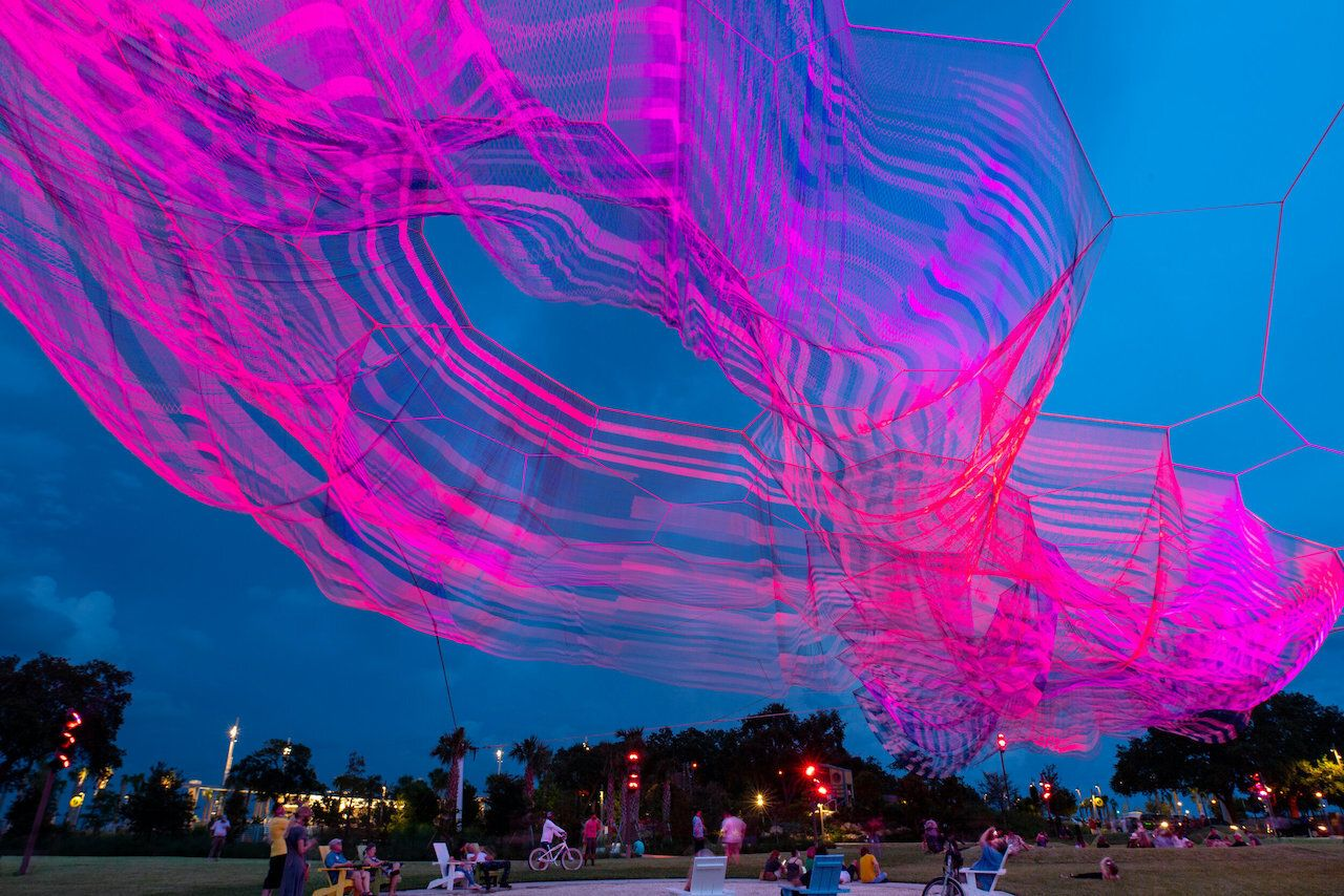 Woven sculpture in St Petersburg Florida at night
