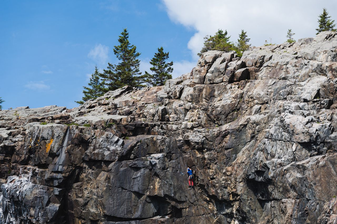 Rock climbing in Acadia National Park