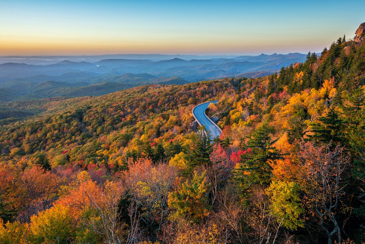 Intensely colorful foliage on a fall road trip in North Carolina