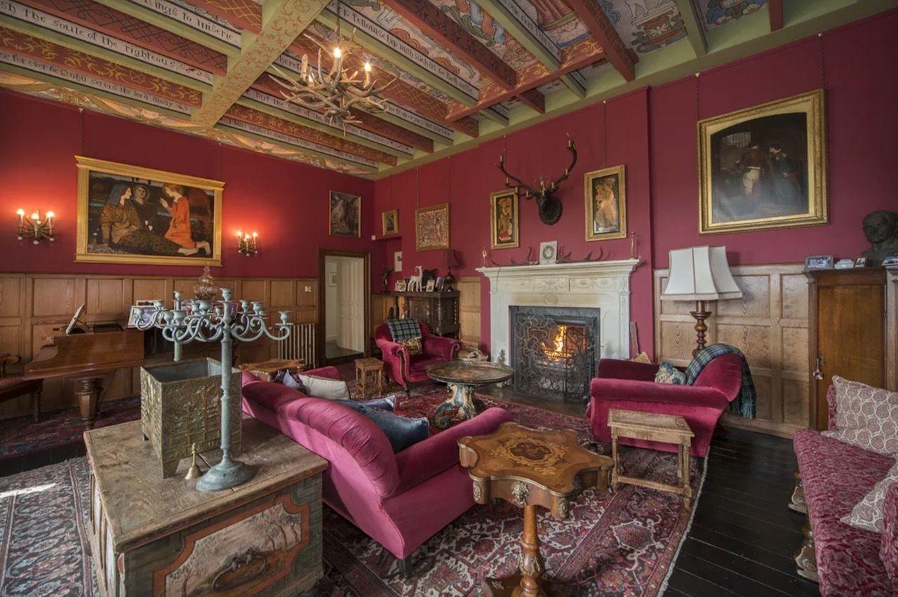Inside pink castle for sale in Scotland