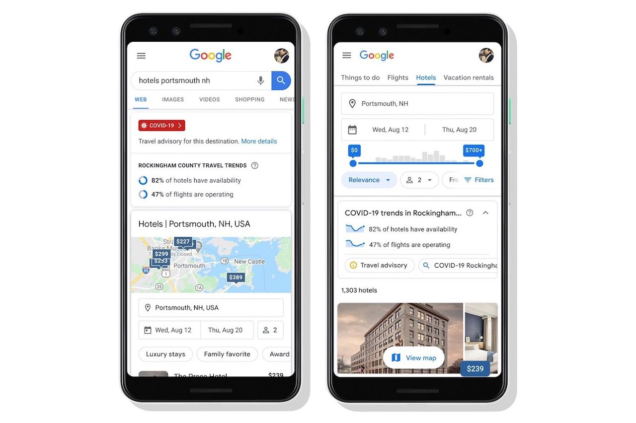 New Google Travel feature shows you COVID-19 travel information
