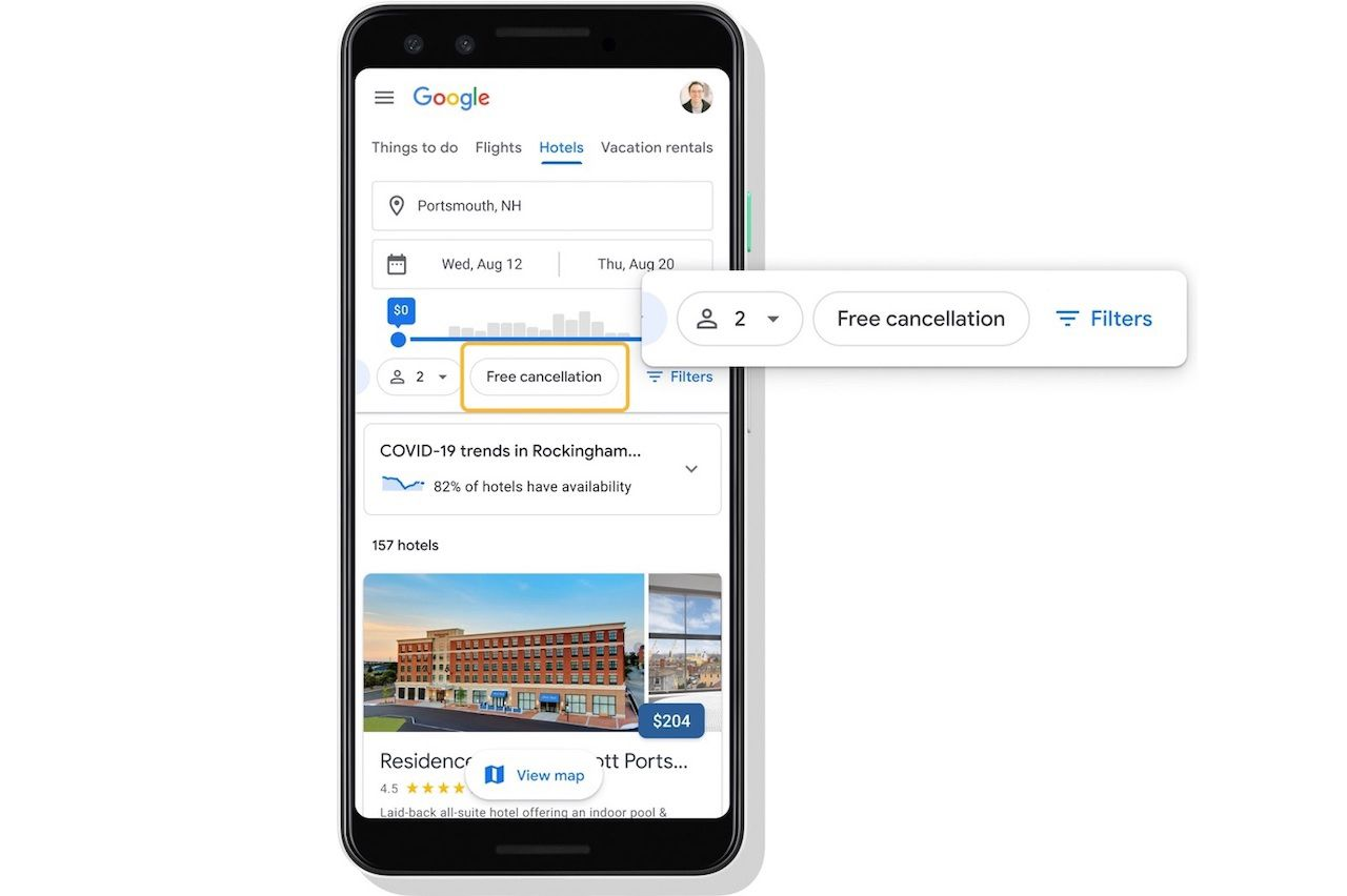 New Google travel feature shows users COVID-19 information copy