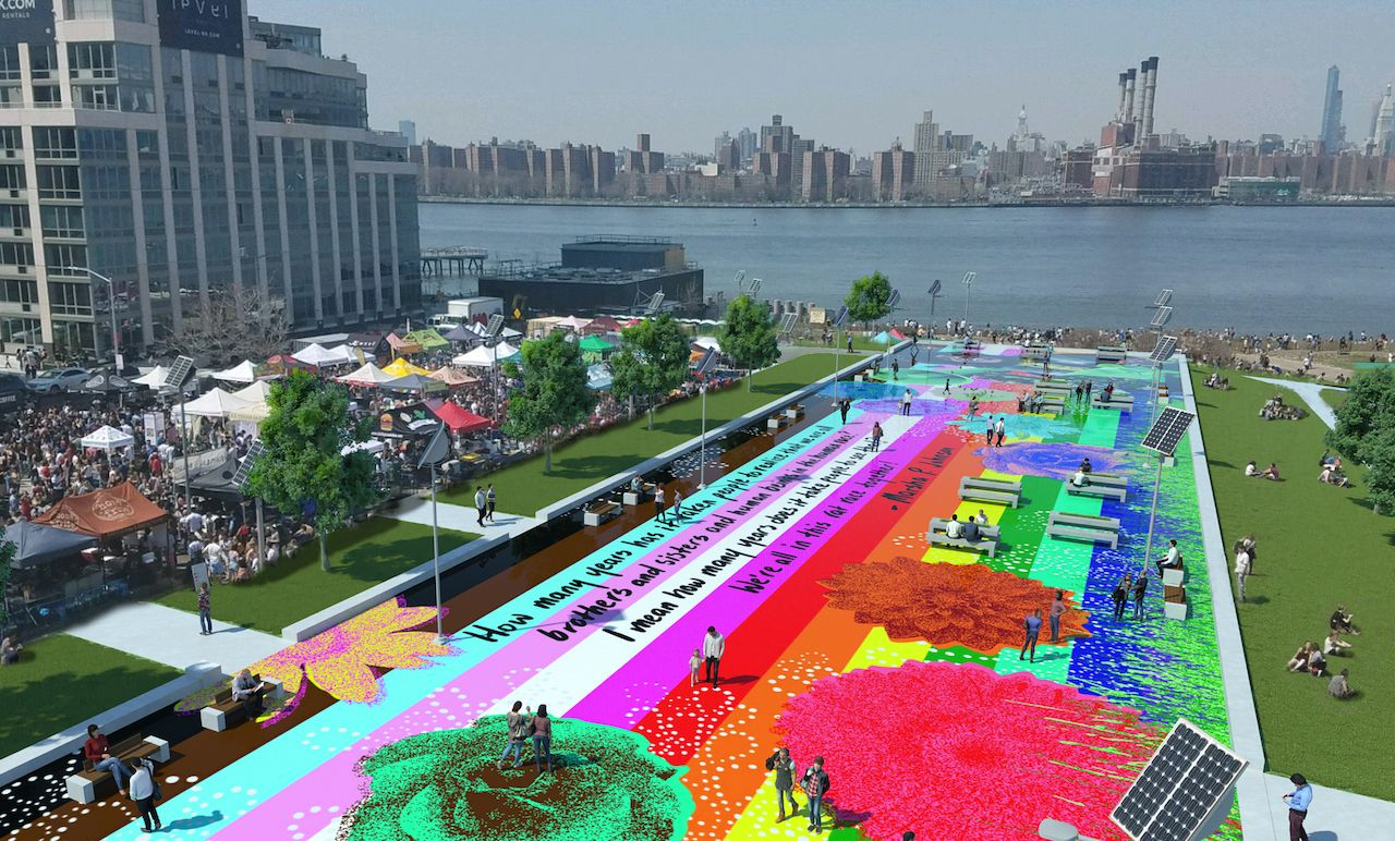 Renderings of Marsha P Johnson State Park in NYC