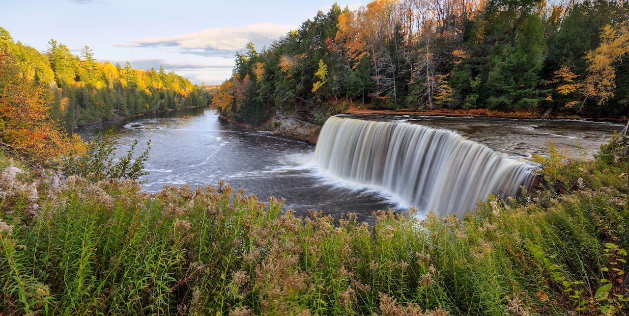 Michigan's Tahquamenon waterfalls in the fall