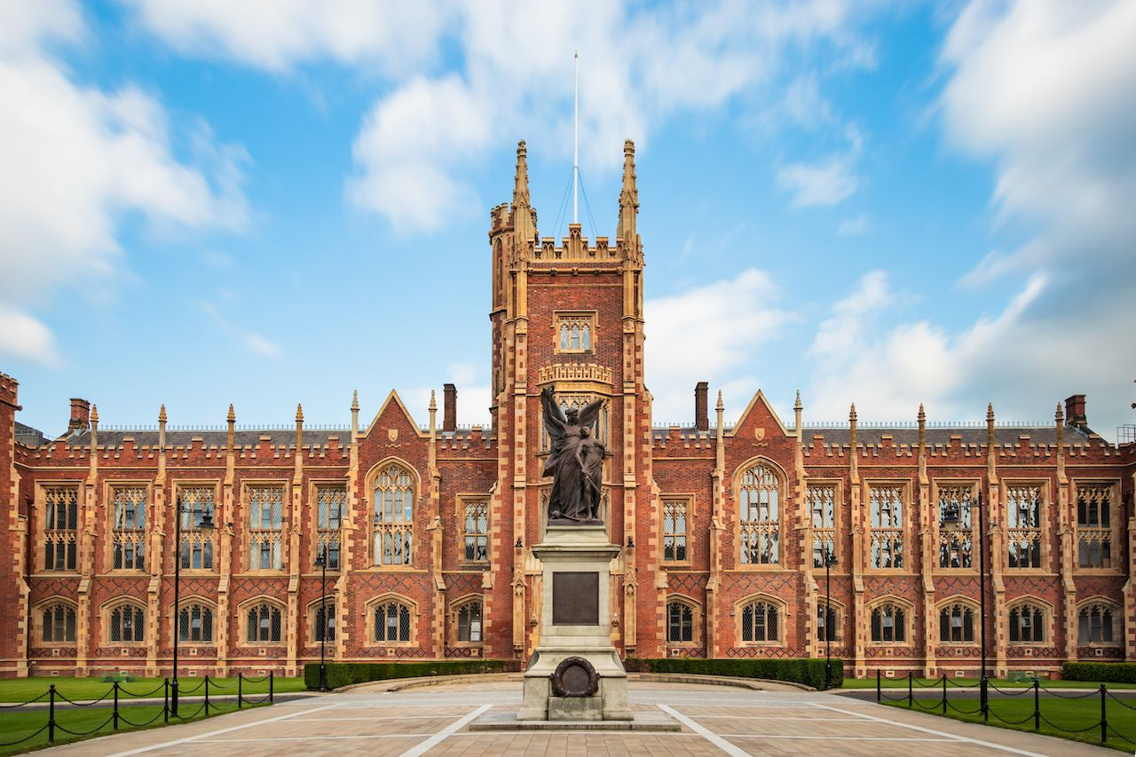 Panoramic view of the Queen's University of Belfast, Northern Ireland, UK