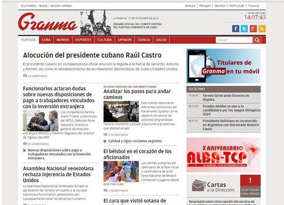 La portada del diario Gramma del 17 de diciembre no hace mención al anuncio del presidente Obama.