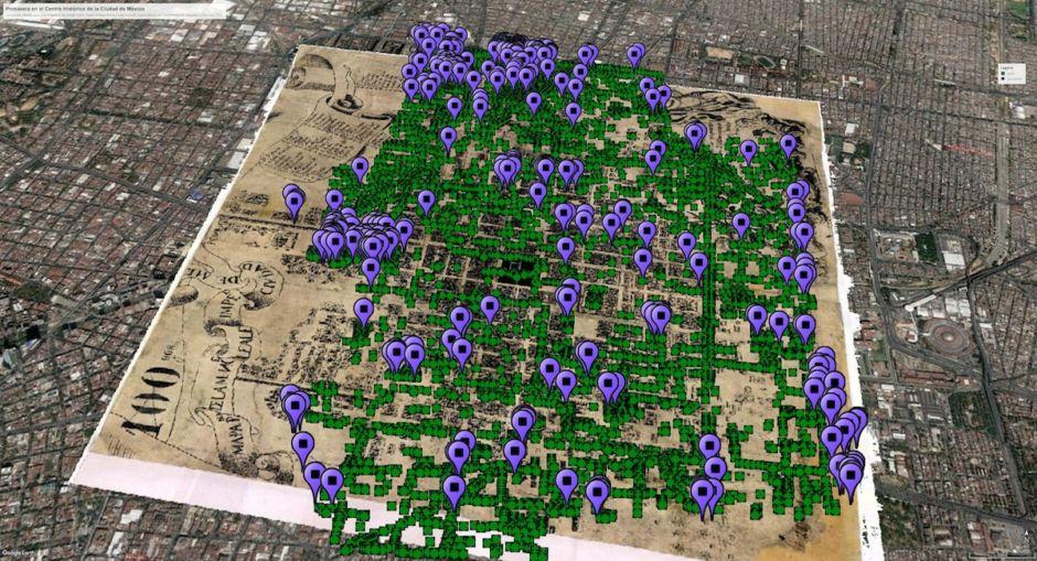 mapa de jacarandas en el centro histórico de la Ciudad de México