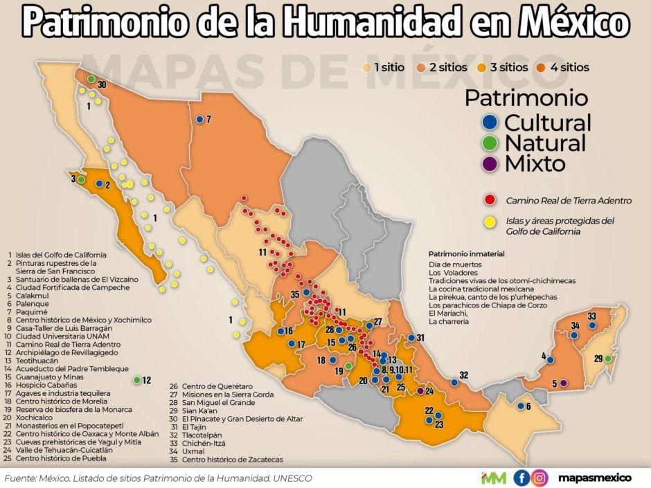 mapa con los sitios que son Patrimonio de la Humanidad en México