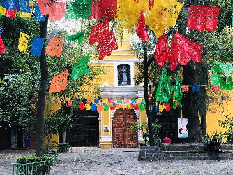 Iglesia de Santa Catarina espacios verdes de Coyoacán