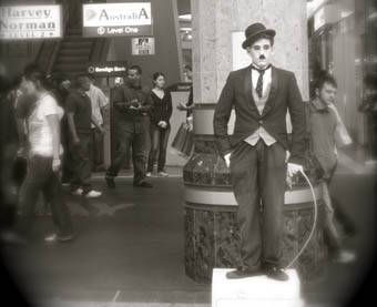 street performer as chaplin