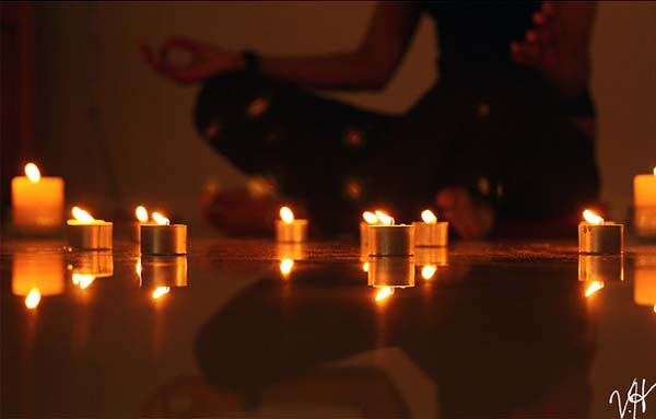 Meditating with candles