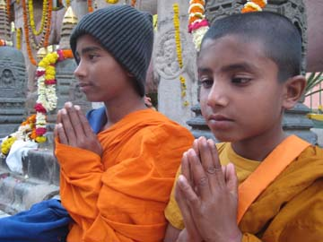 Child monks in Bodh Gaya