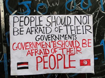 sign in Egypt saying governments should be afraid of their people