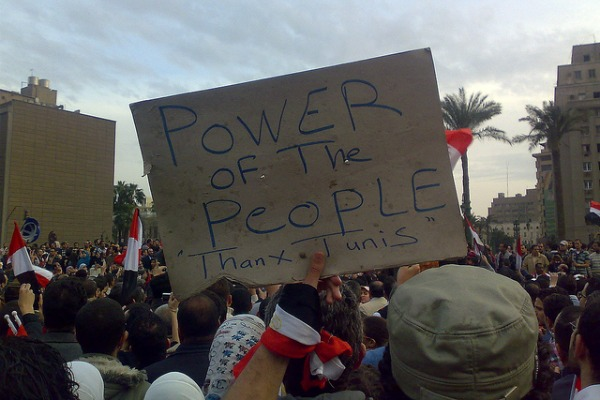 Sign in Egypt saying Power of the People, thanx Tunis