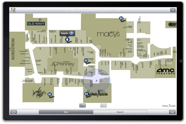 Point Inside: Indoor Map Application for the iPhone and ... on valley fair store map, garden state shooting, lenox square store map, houston galleria store map, lloyd center store map, towson town center store map, glendale galleria store map, southcenter store map, polaris fashion place store map, sawgrass mills store map, westfield garden state plaza map, bellevue square store map,
