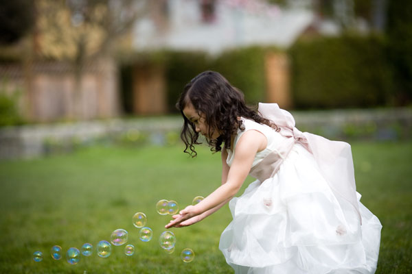 Flower girl and bubbles
