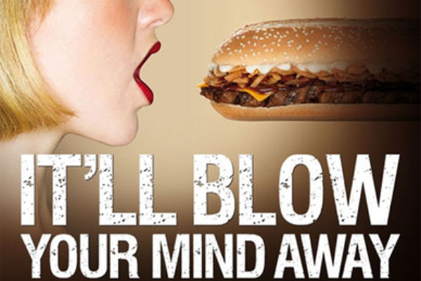 Suggestive burger advert