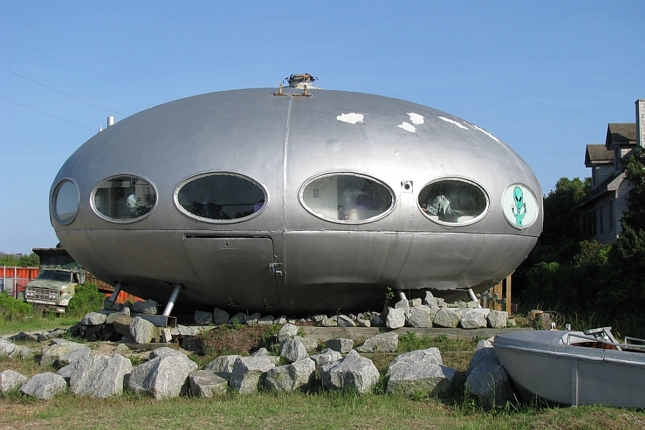 a futuro house in the shape of a UFO alien spaceship