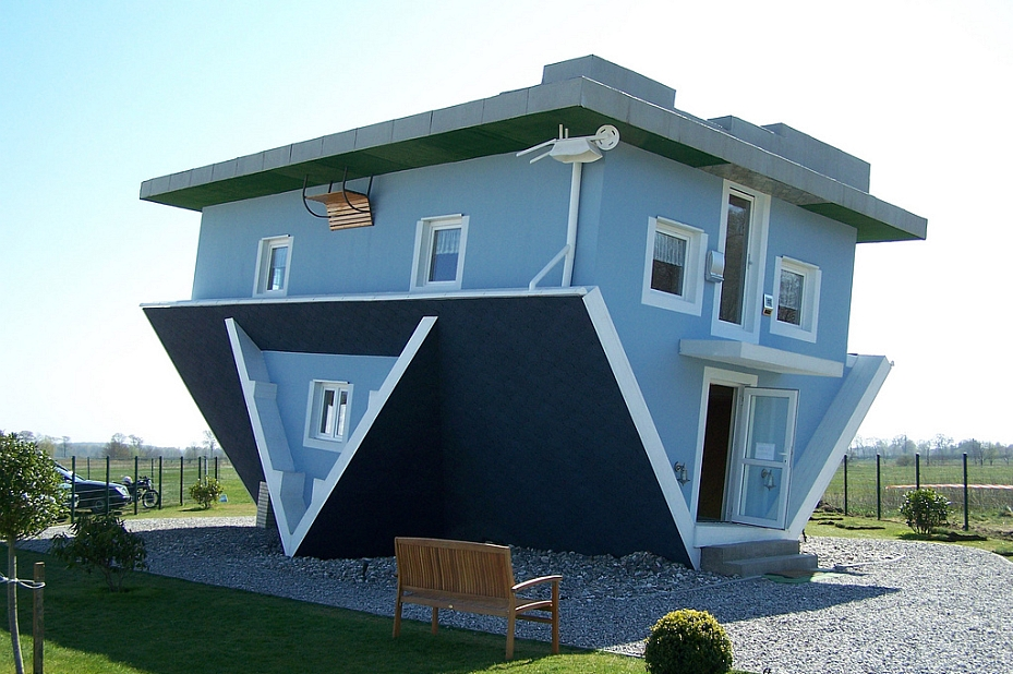 upside down blue house
