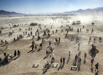 Burning Man bikes in duststorm