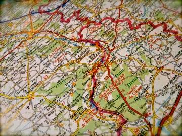 closeup shot of a road map of France