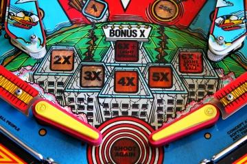 closeup shot of a pinball machine