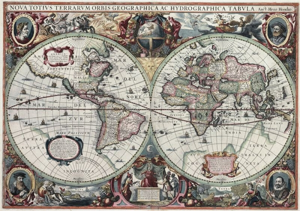 old map of the world from 1627