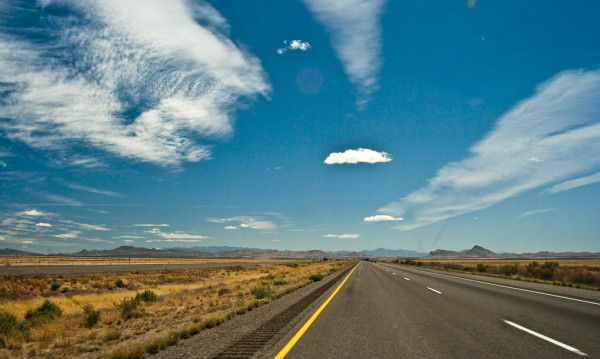 desolate landscape with a blue sky during a road trip in the US