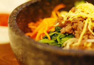 korean food in stone bowl close up