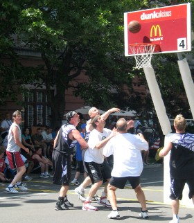 making a basket in a basketball game photo