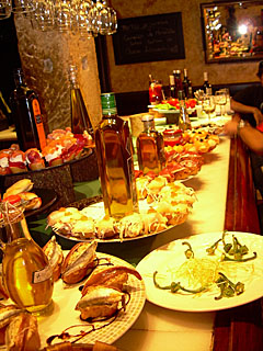 Huge spread of pintxos in a Spanish restaurant