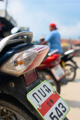 Thai motorbike taillight and license plate